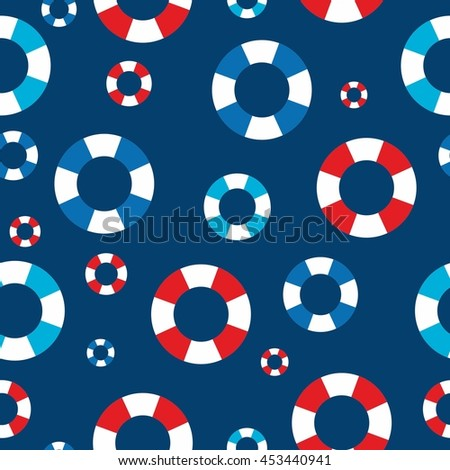 Seamless vector pattern in  retro style. marine background with lifeline.