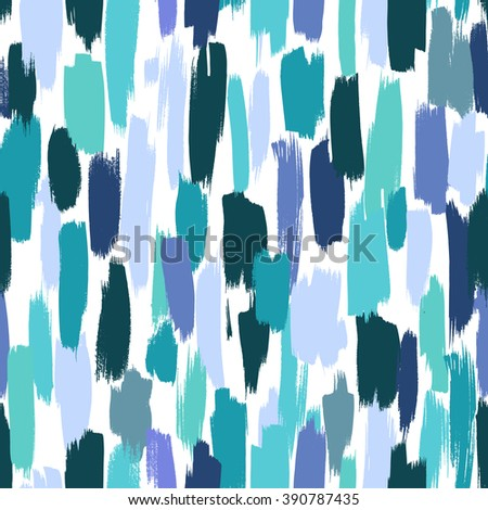 Seamless vector pattern made by hand drawn paint strokes. Blue shades background.
