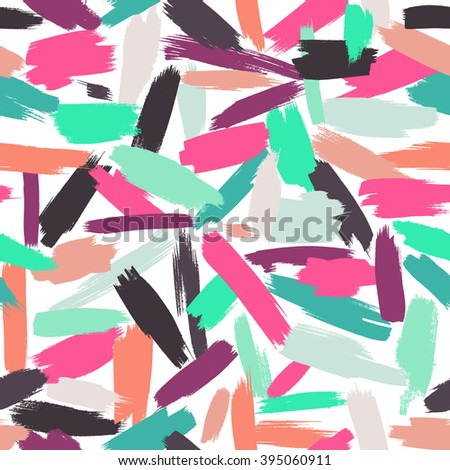 Seamless vector pattern made by hand drawn paint strokes. Bright summer or spring background. - stock vector