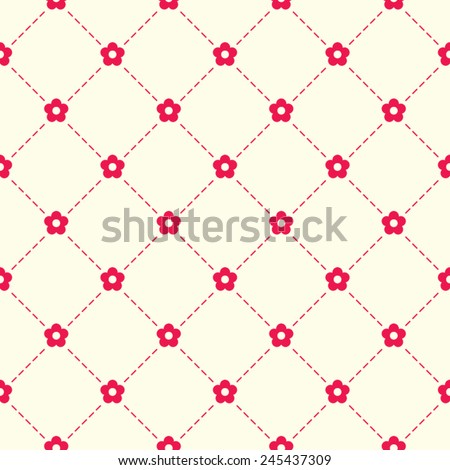 Seamless vector pattern made of tiny red flowers s and argyle elements. Simple abstract floral background. - stock vector