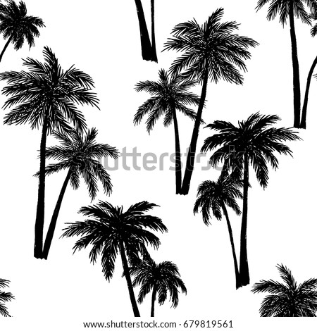 Seamless vector pattern of a hand drawn palm trees. Illustration with tropical palm trees on white background.