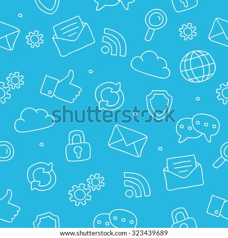 Seamless vector pattern of an Internet icon on a blue background, hand-drawn. - stock vector