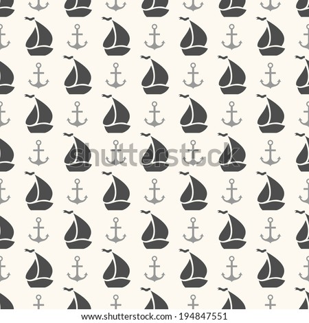 Seamless vector pattern of anchor and sailboat shape. Endless texture for printing onto fabric, web page background and paper or invitation. Abstract retro nautical style. White and black colors - stock vector