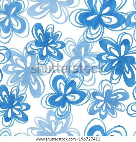 seamless vector pattern of blue hand painting watercolor flowers
