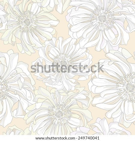 Seamless vector pattern of botanical flowers. Noble gentle light background with pastel trim buds of gorgeous colorful flowers in the shade of yellow background with a high degree of detail. - stock vector
