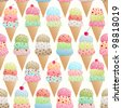 Seamless vector pattern of colorful ice creams - stock vector