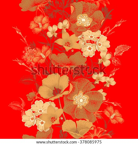 Seamless vector pattern of garden flowers in style of Chinese lacquer miniature. Gold plants on red background. Vintage. Design in oriental style. Roses, bluebells, daisies. - stock vector
