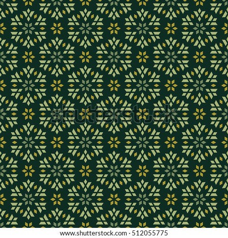 Seamless vector pattern of geometric flowers in green and ocher colors. It can be used for scrap-booking, textile and clothes printing, web design or packaging materials.