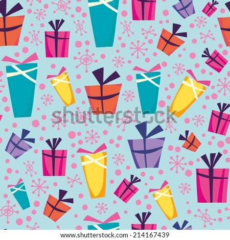 Seamless vector pattern of gift boxes and snowflakes. - stock vector