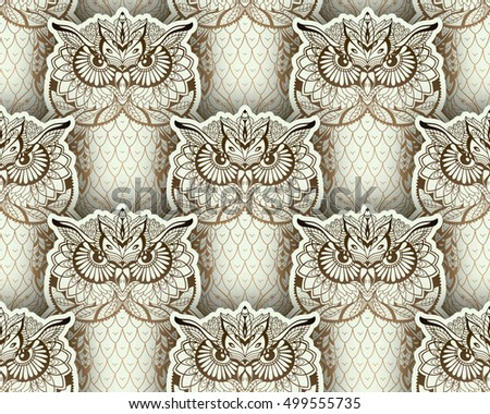 Seamless Vector pattern of hand drawn Tiled owls, silver and golden colored.  Zenart illustration