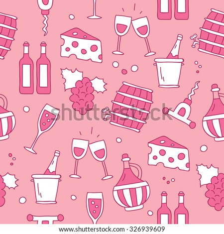 Seamless vector pattern of icon wine on a pink background, hand-drawn.