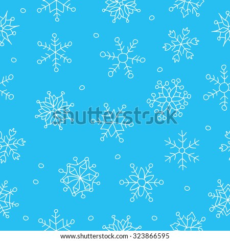 Seamless vector pattern of snowflakes on a blue background, hand-drawn. - stock vector