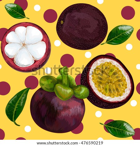 Seamless vector pattern of tropical mangosteen fruit on  background. Mangosteen,  passion fruit.  Vector illustration. mangosteen half with slices.