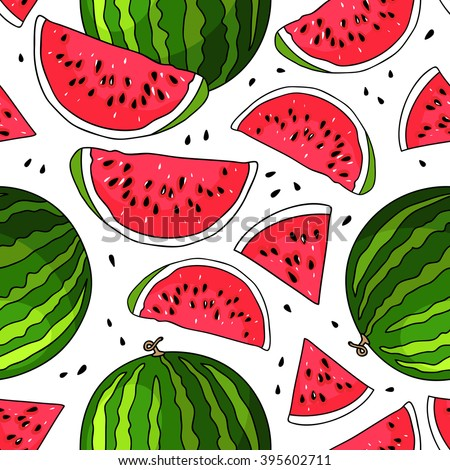 Seamless vector pattern of watermelon on a white background. Elements for design. Juicy watermelon summer fruit. Water fruit. Market fruit.