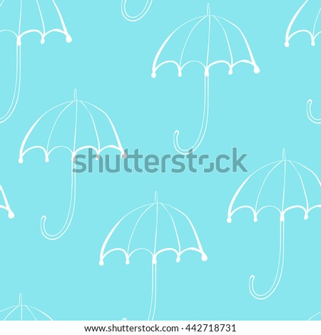 Seamless Vector Pattern of White Umbrellas on Blue Background