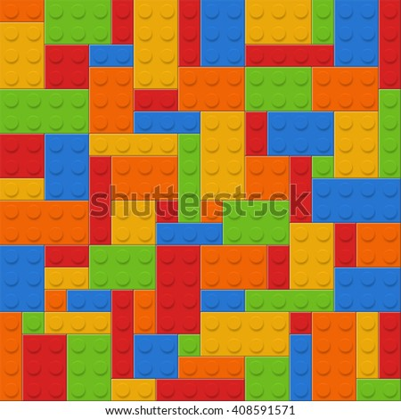 Seamless vector pattern or background of plastic constructor bricks - stock vector