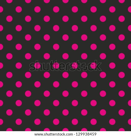 Seamless vector pattern or texture with neon pink polka dots on black background. For cards, invitations, websites, desktop, baby shower card background, party, web design, arts and scrapbooks. - stock vector