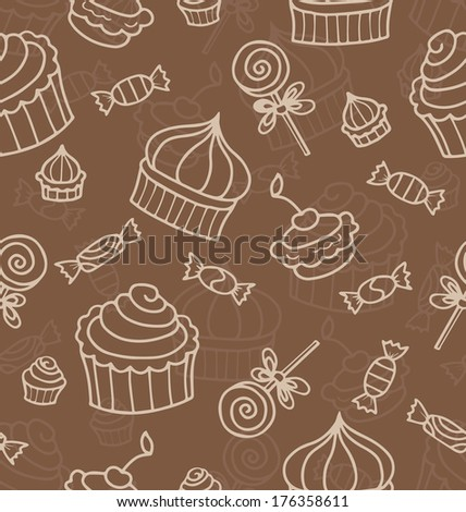 Seamless vector pattern or texture with sweets, hand drawn muffins and lollipops. Background with sweets for desktop wallpaper, decoration.