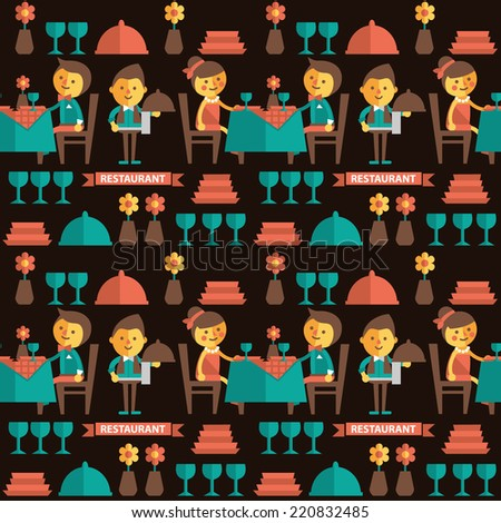 Seamless vector pattern restaurant. Cartoon characters, icons cutlery - stock vector