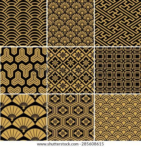 Seamless vector pattern set. Traditional japanese ornamental motives.