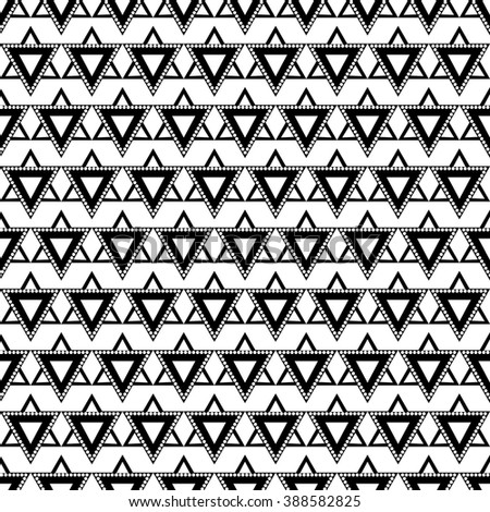 Seamless vector pattern. Symmetrical geometric background with triangles in black and white colors. Decorative repeating ornament. Series of Geometric Ornamental Patterns. - stock vector