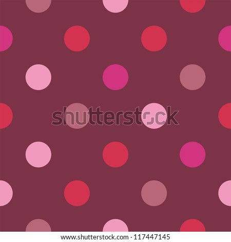 Seamless vector pattern, texture or background with colorful pink and hot red polka dots on dark background. For websites, desktop wallpaper, valentines, wedding - stock vector