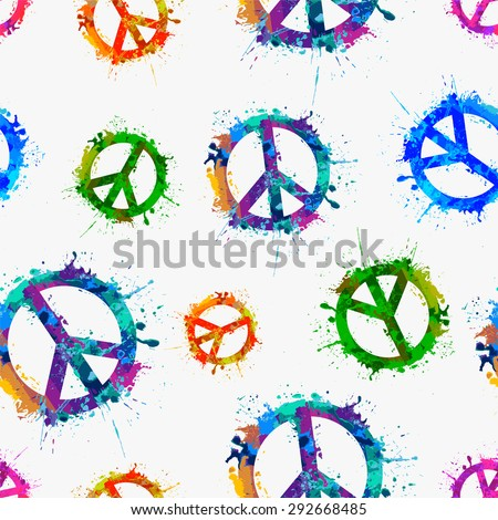 Seamless vector pattern - Vector peace symbol in watercolor splashes  - stock vector