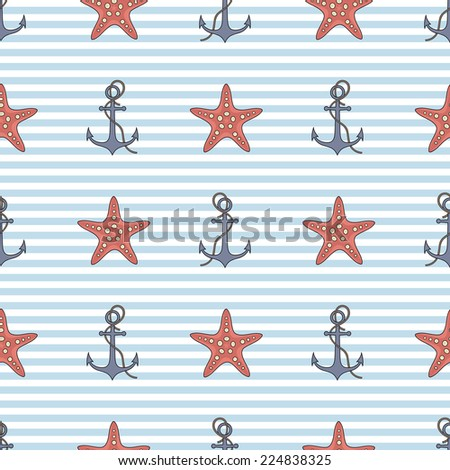 seamless vector pattern with anchor and starfish