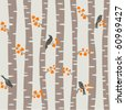 Seamless vector pattern with autumn trees and birds - stock vector