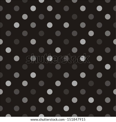 Seamless vector pattern with beige, brown and grey colorful polka dots on a black background. For website, web design, desktop wallpaper, blog background, arts and scrapbooks.  - stock vector