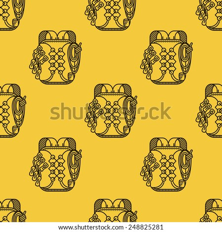 Seamless vector pattern with black flat line backpack for rock climbing on yellow background. - stock vector