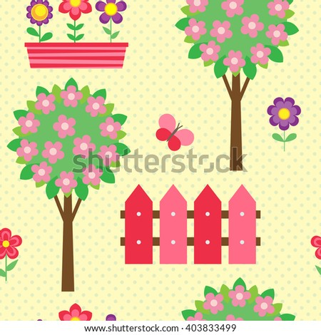 Seamless vector pattern with blooming trees and flowers in pots