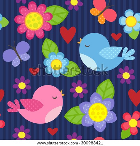 Seamless vector pattern with blue and pink birds, butterflies, hearts and flowers - stock vector