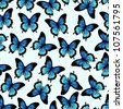 Seamless vector pattern with blue papilio ulysses butterfly - stock