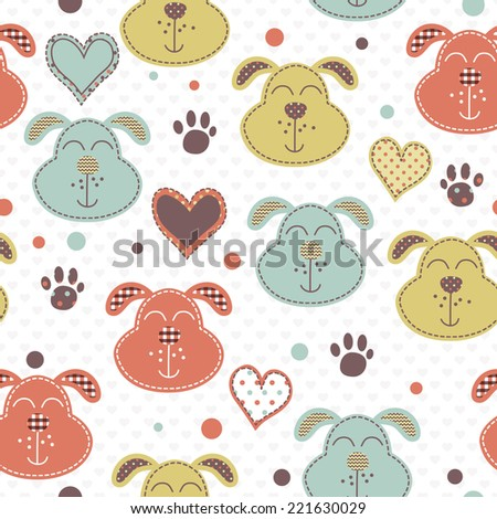 Seamless vector pattern with blue, red and yellow cute little dog faces - stock vector
