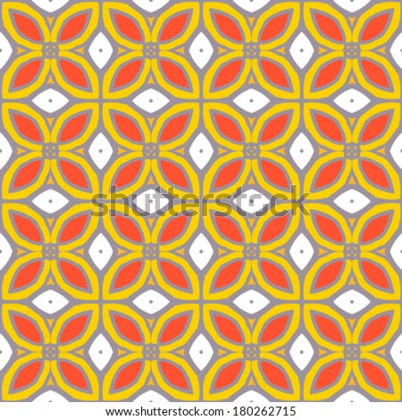 Seamless vector pattern with bold geometric shapes in 1970s style. Texture background for web, print, home decor, summer fall fashion textile, wrapping paper, wallpaper, website background, decals - stock vector