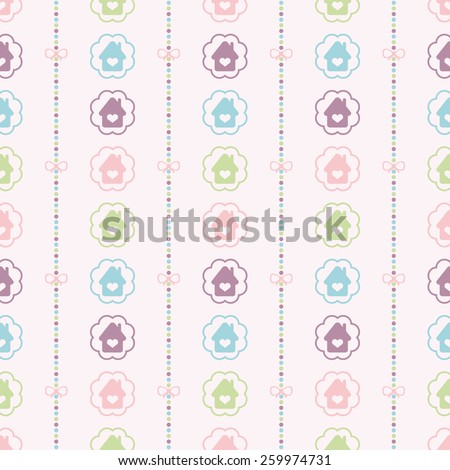 Seamless vector pattern with bows on a colorful strips background and colorful houses in circles. For cards, invitations, wedding or baby shower albums, backgrounds, arts and scrapbooks.  - stock vector