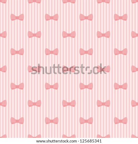 Seamless vector pattern with bows on a pastel pink strips background. For cards, invitations, wedding or baby shower albums, backgrounds, arts and scrapbooks. - stock vector