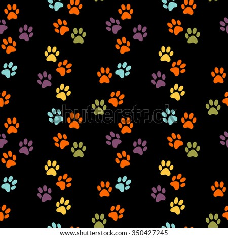 Seamless vector pattern with bright  traces of animals  - stock vector