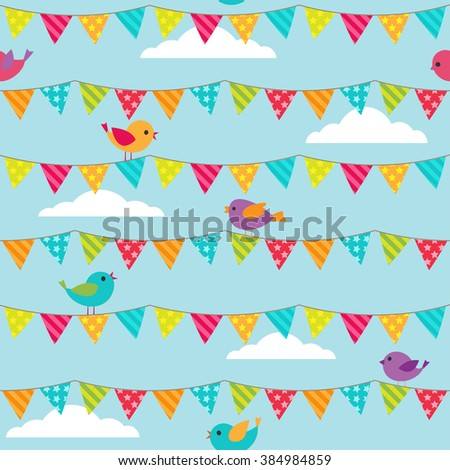 Seamless vector pattern with bunting and sitting birds on blue background - stock vector