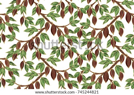 Seamless vector pattern with cacao plant