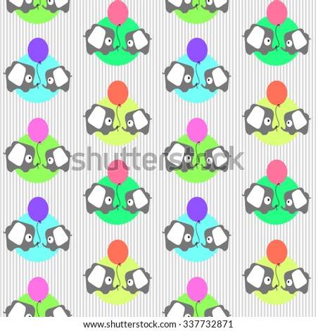 seamless vector pattern with cartoon colored little elephants with balloons - stock vector