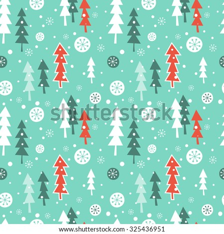 Seamless vector pattern with Christmas forest in snow. Can be used for wallpaper, pattern fills, web page background, surface textures, gifts. Creative Hand Drawn textures with Christmas trees. - stock vector