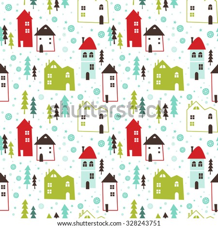Seamless vector pattern with Christmas town in snow. Can be used for wallpaper, pattern fills, web page background, surface textures, gifts. Creative Hand Drawn textures with Christmas trees.