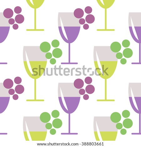 Seamless vector pattern with closeup wineglasses with red and white wine, and bunches of grape on the grey background. Series of Food and Drink Seamless Patterns. - stock vector
