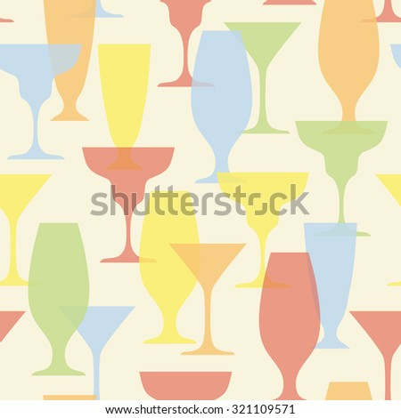 seamless vector pattern with cocktail glasses - stock vector