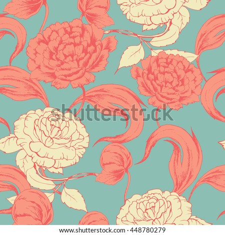 Seamless vector pattern with colored peony and rose on green. Hand drawn floral background with flowers retro style. For wedding, greeting card, wrapping paper , fabric and other seamless design.
