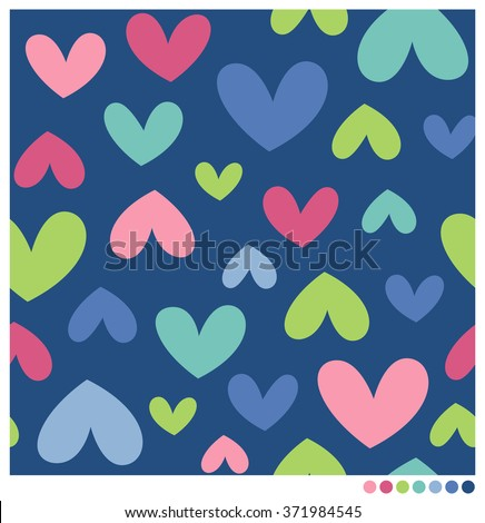 Seamless vector pattern with colorful funny hearts. - stock vector