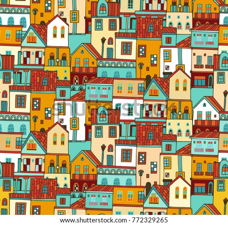 Seamless vector pattern with colorful houses