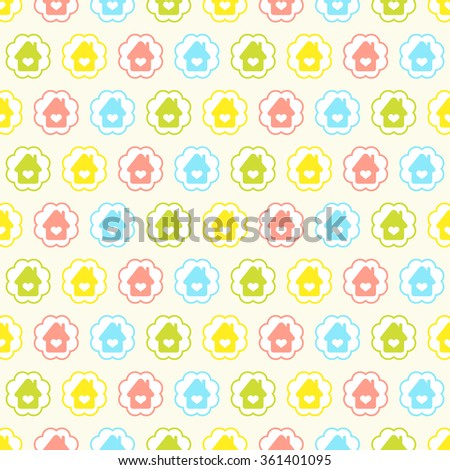 Seamless vector pattern with colorful houses in circles. For cards, invitations, wedding or baby shower albums, backgrounds, arts and scrapbooks.  - stock vector